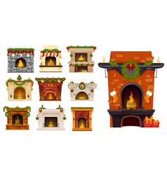 christmas fireplaces xmas holiday decor cartoon vector image