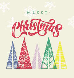 christmas trees greeting card with winter forest vector image