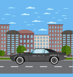 classic muscle car in urban landscape vector image