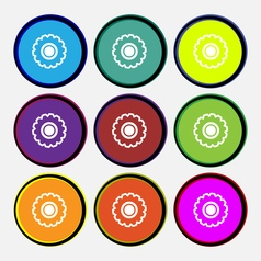 cogwheel icon sign Nine multi colored round vector image