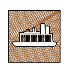 Color pencil drawing square frame with cargo ship vector