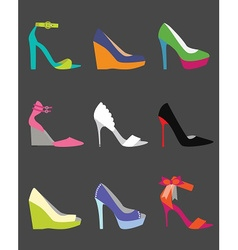 colorful shoe icon set vector image