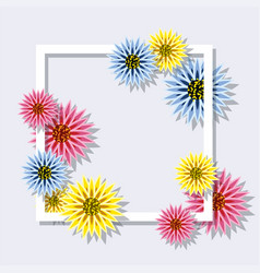 colorful spring flowers with square frame vector image