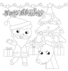 coloring santa claus with tree and reindeer vector image