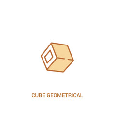 Cube geometrical concept 2 colored icon simple vector