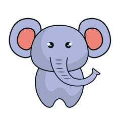 cute elephant animal kawaii style vector image