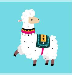 Cute fluffy llama or alpaca as camelid pack animal vector