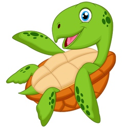 Cute sea turtle cartoon vector image