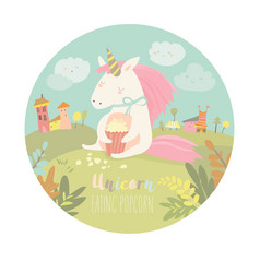 cute unicorn eating popcorn vector image