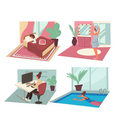 daily routine woman with personal and career vector image