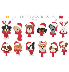 Dog portraits in santa hats and scarves christmas vector