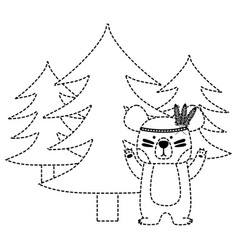 Dotted shape ethnic bear animal with pine trees vector