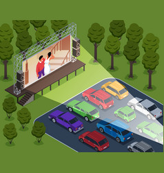 Drive-in cinema composition vector