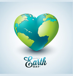 Earth day with planet in heart vector
