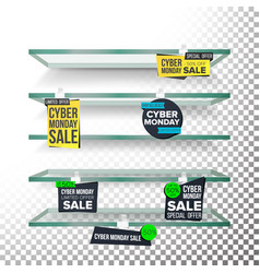 empty supermarket shelves cyber monday sale vector image