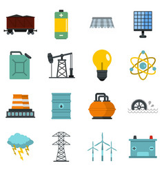 Energy sources items icons set in flat style vector