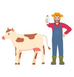 farming man showing organic milk product bottled vector image