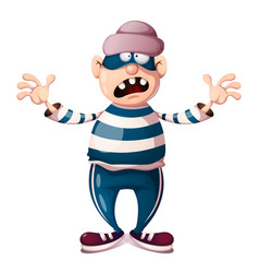 funny cute crazy cartoon thief characters vector image