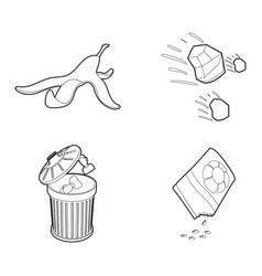 garbage icon set outline style vector image