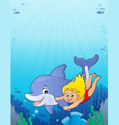 Girl and dolphin image 3 vector