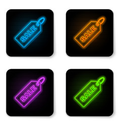 glowing neon price tag with an inscription sale vector image