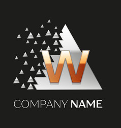golden letter w logo in silver pixel triangle vector image