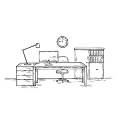 Hand drawn office sketch desk with chair computer vector