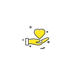 Hand heart medical heart center icon desige vector