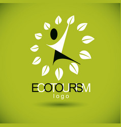 happy abstract human with reaching up ecotourism vector image
