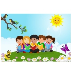 happy children lying on the ggass while reading bo vector image