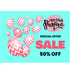 happy easter italian language sale banner template vector image