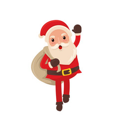 happy santa claus delivering present for christmas vector image