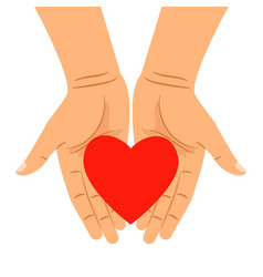 Hearts shape in outstretched hands vector