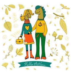 Hello autumn elegant card with cute horse couple vector image