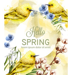 hello spring card watercolor with cute vector image