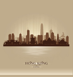 Hong kong china city skyline silhouette vector