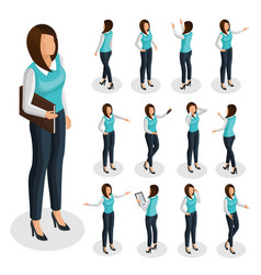 Isometric business woman set vector