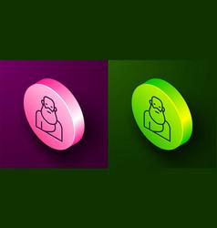 Isometric line socrates icon isolated on purple vector