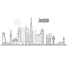 jeddah city skyline - towers and landmarks vector image