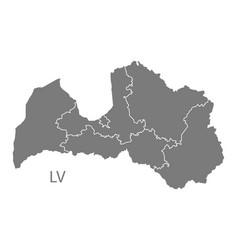Latvia regions map grey vector