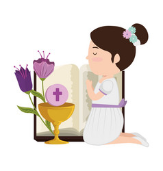 Little kneeling girl with bible and flowers first vector