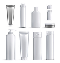 mens cosmetics bottles realistic icon set vector image