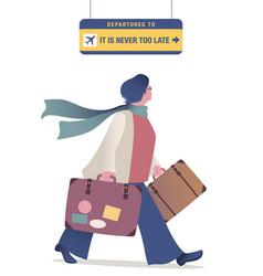 Middle-aged traveler woman with glasses and scarf vector