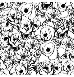 monochrome flower patternhand drawn vector image