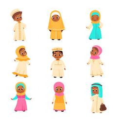 Muslim kids arabian children happy islamic boys vector