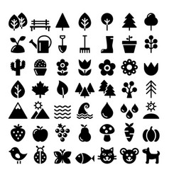 Nature icons set park outdoors animals vector