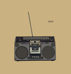 old retro radio waves tuner sketch vector image