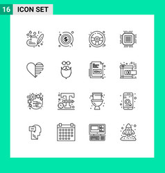 Outline pack 16 universal symbols love vector