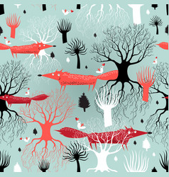 pattern trees and foxes vector image