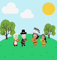 Pilgrims and indians vector